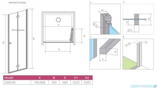 Radaway Fuenta New Dwb drzwi wnękowe 80cm prawe szkło przejrzyste 384075-01-01R