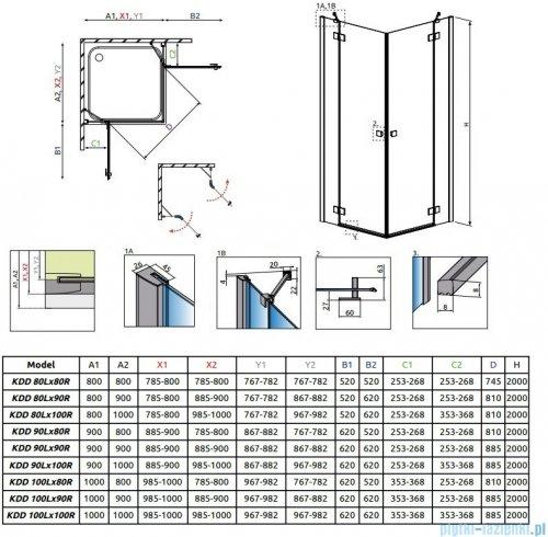 Radaway Essenza New Kdd kabina 100cm część prawa szkło przejrzyste 385062-01-01R