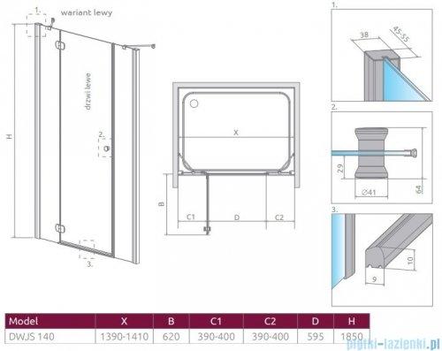 Radaway Torrenta Dwjs drzwi wnękowe 140 lewe szkło przejrzyste 320612-01-01L/320343-01-01