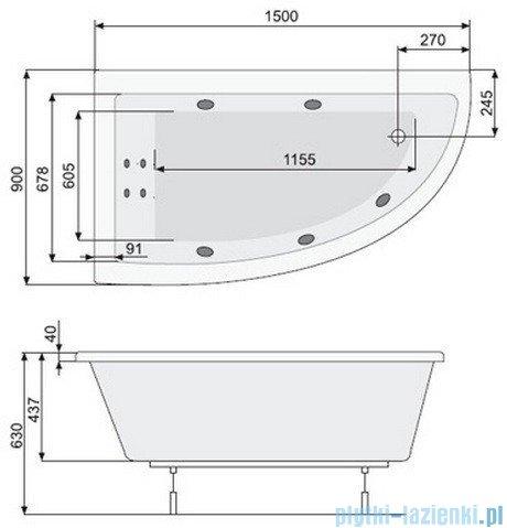 Poolspa Wanna asymetryczna LAURA 150x90 lewa + hydromasaż Smart 1 PHANW10ST1C0000