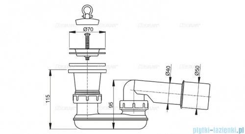Alcaplast spust brodzikowy z syfonem Ø52, sitko nierdzewne A461-50