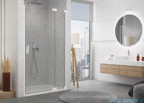 SanSwiss Cadura White Line drzwi wahadłowe 110cm jednoczęściowe prawe z polem stałym biały mat CA13D1100907