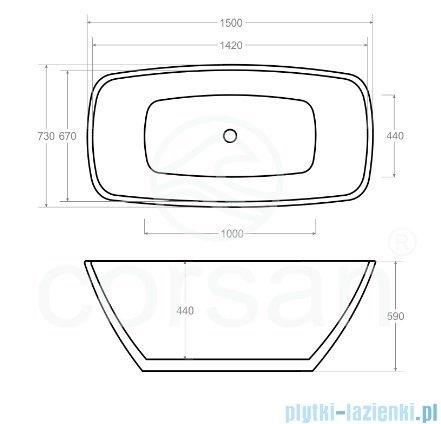 Corsan Okama wanna wolnostojąca 150x73 cm biała + syfon klik-klak rysunek techniczny