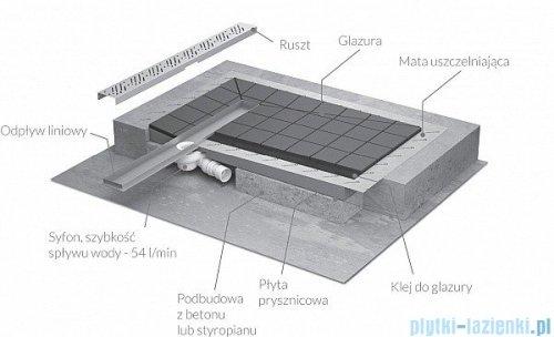 Radaway brodzik podpłytkowy z odpływem liniowym Steel na krótszym boku 99x79cm 5DLB1008A,5R055S,5SL1