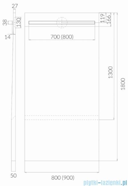 Schedpol Schedline brodzik posadzkowy podpłytkowy z odpływem liniowym slight steel 130+50x90x5/12cm 10ST.1S2-90180