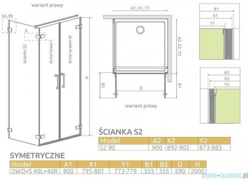 Radaway Arta Dwd+s kabina 80x90cm prawa szkło przejrzyste 386180-03-01R/386055-03-01L/386111-03-01