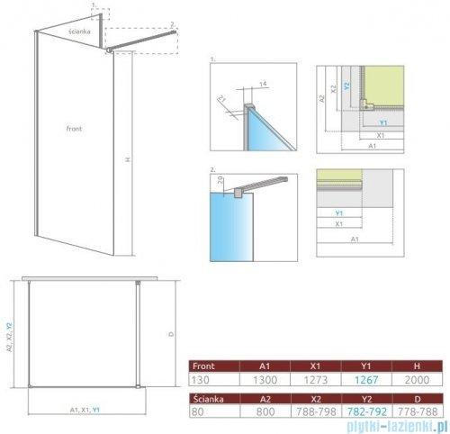Radaway Modo New IV kabina Walk-in 130x80 szkło przejrzyste 389634-01-01/389084-01-01