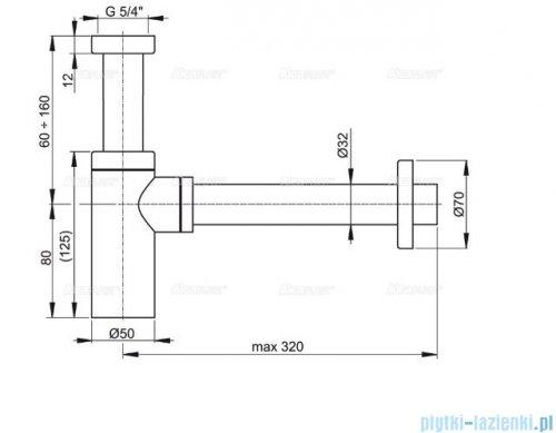 Alcaplast półsyfon umywalkowy DN32 DESIGN metalowy, okrągły A400