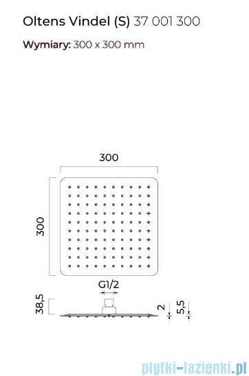 Oltens Vindel (S) deszczownica 30x30 cm czarny mat 37001300