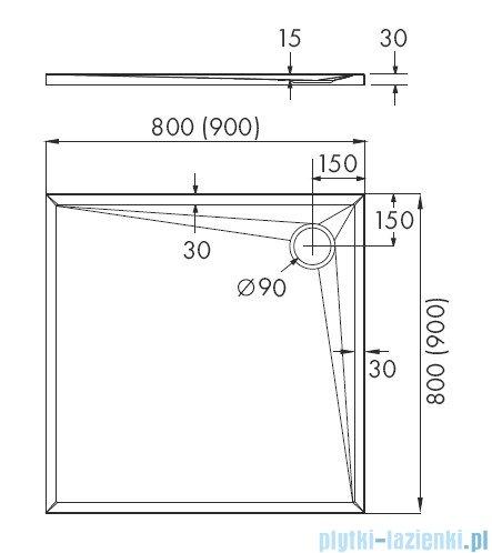 Schedpol Etrusco brodzik kwadratowy 80x80x3cm 3.460