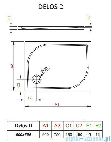 Radaway Brodzik prostokątny Delos D 90x75x4,5 cm 4D97545-03