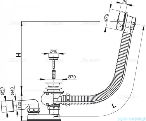 Alcaplast  syfon wannowy automatyczny biały A51B-100