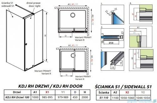 Radaway Furo Black KDJ RH kabina 100x110cm prawa szkło przejrzyste 10104492-54-01RU/10110510-01-01/10113110-01-01