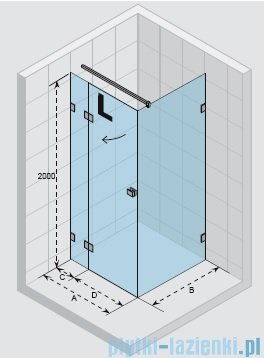 Riho Scandic Lift M203 kabina prysznicowa 120x80x200cm prawa GX0902102