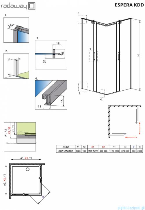 Radaway Espera KDD Kabina prysznicowa 120x90 szkło przejrzyste rysunek techniczny