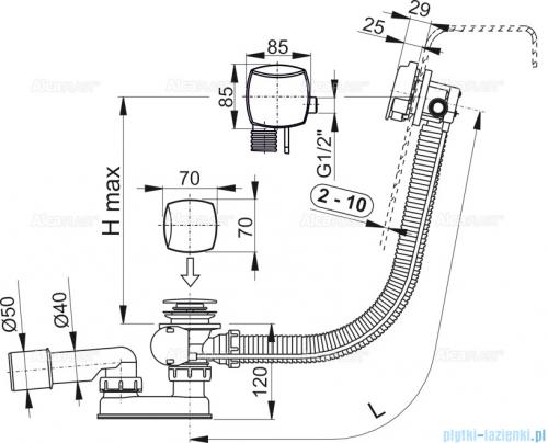 Alcaplast  syfon wannowy z funkcją napełniania przez przelew chrom A564CRM3-100