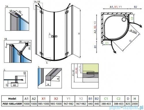 Radaway Essenza New Pdd kabina 100x100cm szkło przejrzyste + brodzik Delos A + syfon