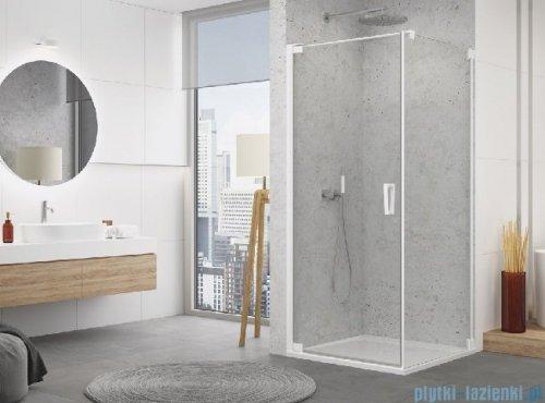 SanSwiss Cadura White Line drzwi wahadłowe 100cm jednoczęściowe lewe z profilem przyściennym biały mat CA1CG1000907