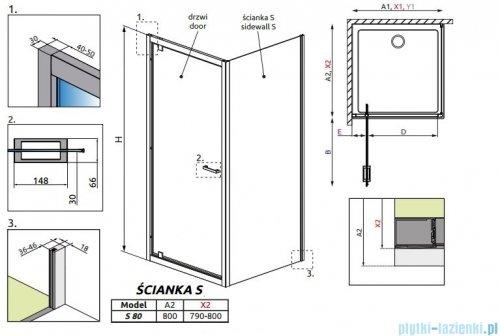Radaway Twist S Ścianka prysznicowa 80x190 szkło brązowe 382011-08