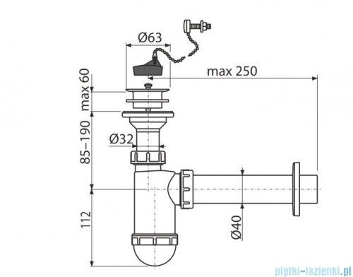 Alcaplast syfon umywalkowy DN40, sitko z tworzywa DN63, korek z łańcuszkiem A42R