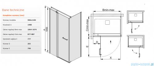 Sanplast kabina narożna prostokątna 90x110x198 cm KNDJ2/PRIII-90x110 przejrzyste 600-073-0300-01-401