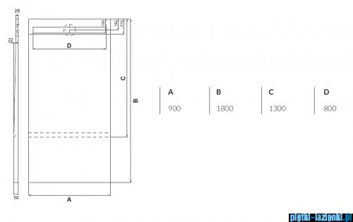 Schedpol brodzik posadzkowy podpłytkowy ruszt Steel 130+50x90x5cm 10.034/OLSL
