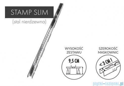 Schedpol Slim Lux odpływ liniowy z maskownicą Stamp Slim 90x3,5x9,5cm OLSP90/SLX