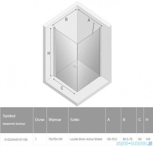 New Trendy New Soleo Black 70x70x195 cm kabina kwadratowa wspornik skośny przejrzyste D-0229A/D-0113B