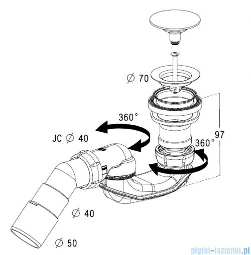 Radaway Turboflow Syfon z odpływem Ǿ 50 click-clack 023-B578P