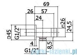Paffoni Level przyłącze kątowe z uchwytem ZSUP032CR
