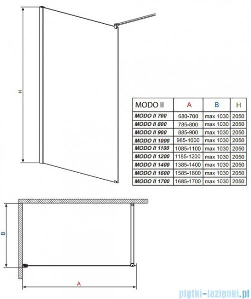 Radaway Modo II kabina Walk-in 170x205 przejrzyste 352174-01-01N