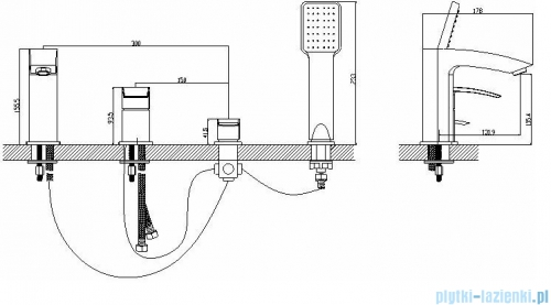 Omnires Murray bateria wannowa 4-otworowa chrom MU6132CR