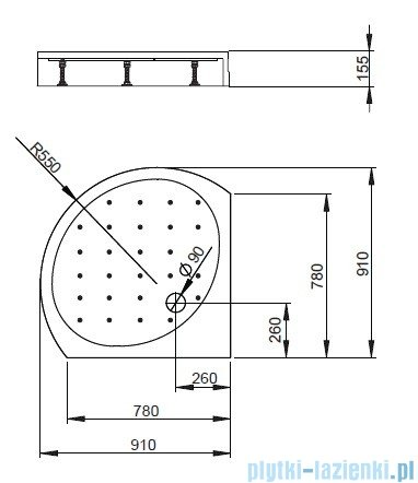 Radaway Brodzik półokrągły Rodos B 90x90 z obudową zintegrowaną 4D99155-03