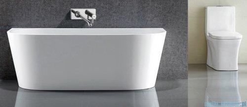 Massi Wall 150 wanna wolnostojąca przyścienna 150x75cm biała + syfon MSWA-6815B