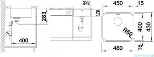Blanco Supra 450-U komora podwieszana  stal szlachetna szczotkowana z k. aut.  518204