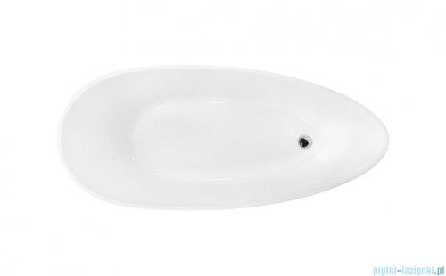 Besco Goya XS B&W 142x62cm wanna wolnostojąca + odpływ klik-klak biało-czarna #WMD-140-GBW