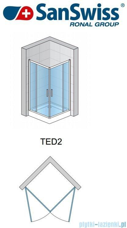 SanSwiss Top-Line Ted2 Wejście narożne 75cm profil srebrny Prawe TED2D07500107