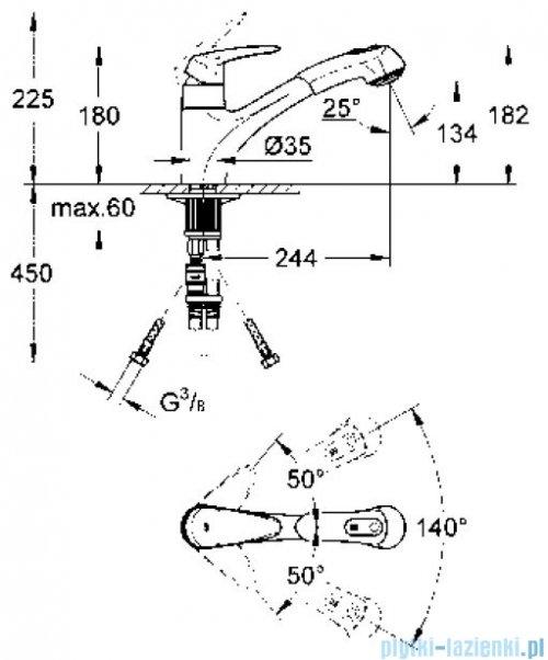 Grohe Eurodisc jednouchwytowa bateria zlewozmywakowa DN 15 32257001