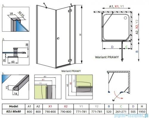 Radaway Almatea Kdj Kabina kwadratowa 80x80 Prawa szkło przejrzyste rysunek techniczny