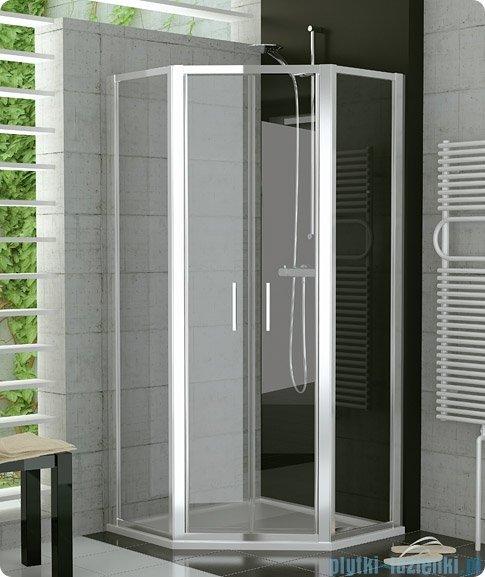 SanSwiss Top-Line Pięciokątna kabina prysznicowa TOP52 z drzwiami otwieranymi 80x80cm krople/biały TOP5260800444