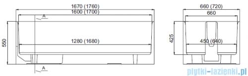 Schedpol nośnik monolityczny do wanny prostokątnej 170x70cm 1.006