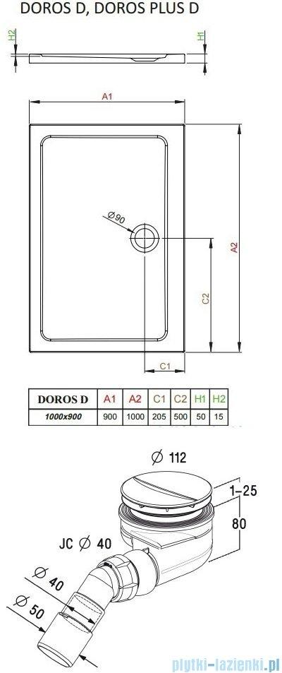 Radaway Torrenta Kdd Kabina prysznicowa 100x90 szkło przejrzyste + brodzik Doros D + syfon 32275-01-01N