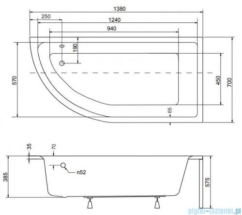 Besco Praktika 140x70cm wanna asymetryczna prawa + obudowa + syfon #WAP-140-Np/OAP-140-Np/19975
