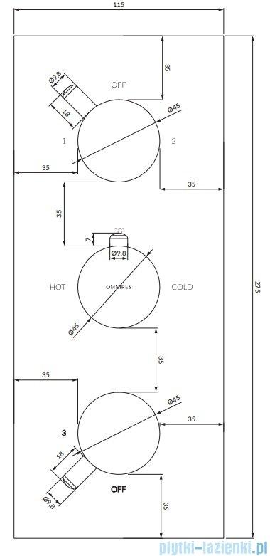 Omnires Y bateria podtynkowa termostatyczna 3-wyjściowa element natynkowy czarny Y1238/KROBL