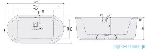Sanplast Space Line WOW/SPACE wanna owalna+stelaż STW-001 180x90 cm 610-100-0851-01-000