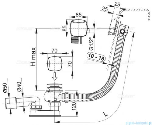 Alcaplast  syfon wannowy z funkcją napełniania przez przelew do wanien grubościennych, chrom A565KM3-80