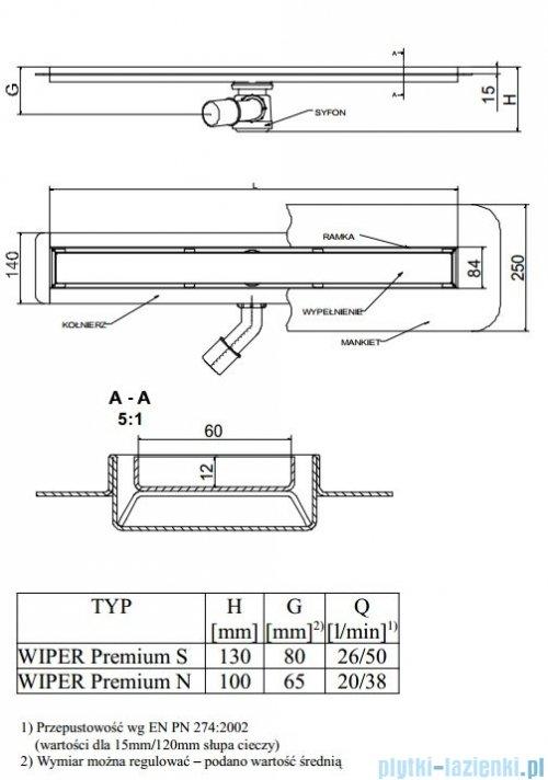 Wiper Odpływ liniowy Premium Ponente 120cm z kołnierzem poler P1200PPS100