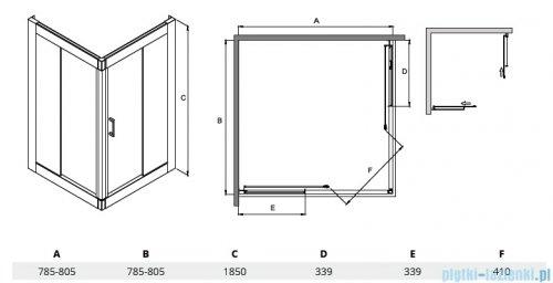 Besco Modern kabina kwadratowa 80x80x185cm mrożone MK-80-185-M