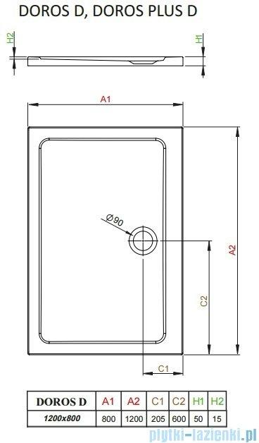 Radaway Arta Kds I kabina 120x80cm lewa szkło przejrzyste + brodzik Doros D + syfon