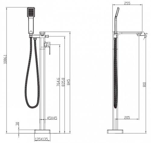 Omnires Apure bateria wannowa wolnostojąca kompletna na pojedynczej nodze chrom AP2233CR